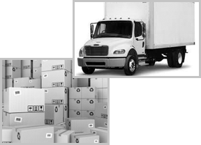 Flatbed Truck and Delivery Boxes